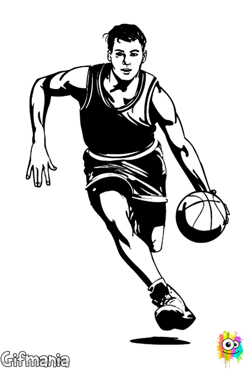 Basketballer sport drawing. Lady clipart basketball player