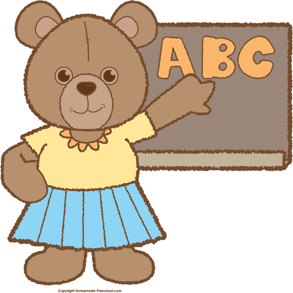 Teddy click to save. Preschool clipart bear