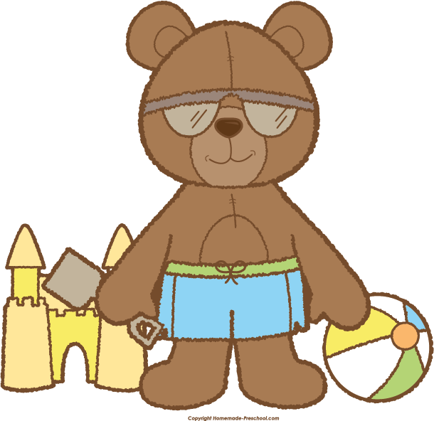 Teddy click to save. Clipart beach bear