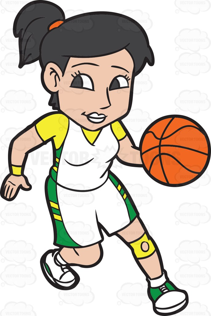 Clipart basketball character. Girl player free download