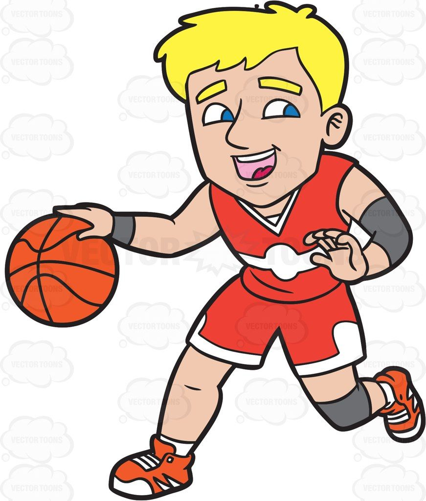 Clipart basketball character. A happy male player