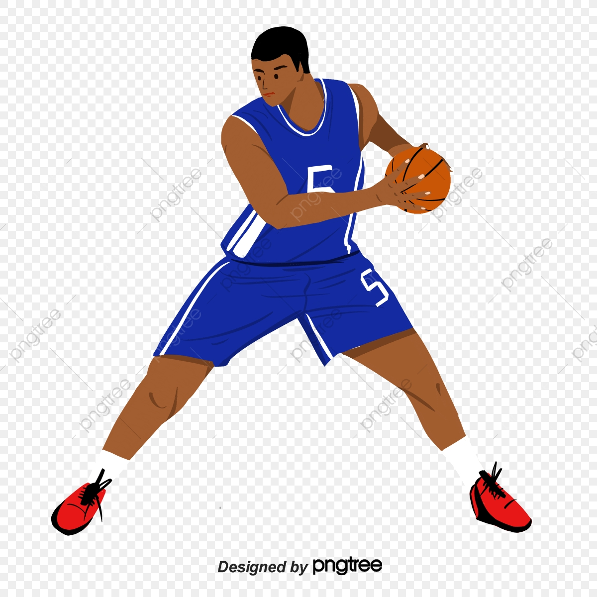 Colorful cartoon player material. Clipart basketball character