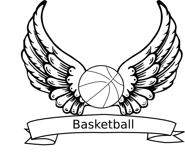 Wing clipart drawing. Basketball angel wings clip