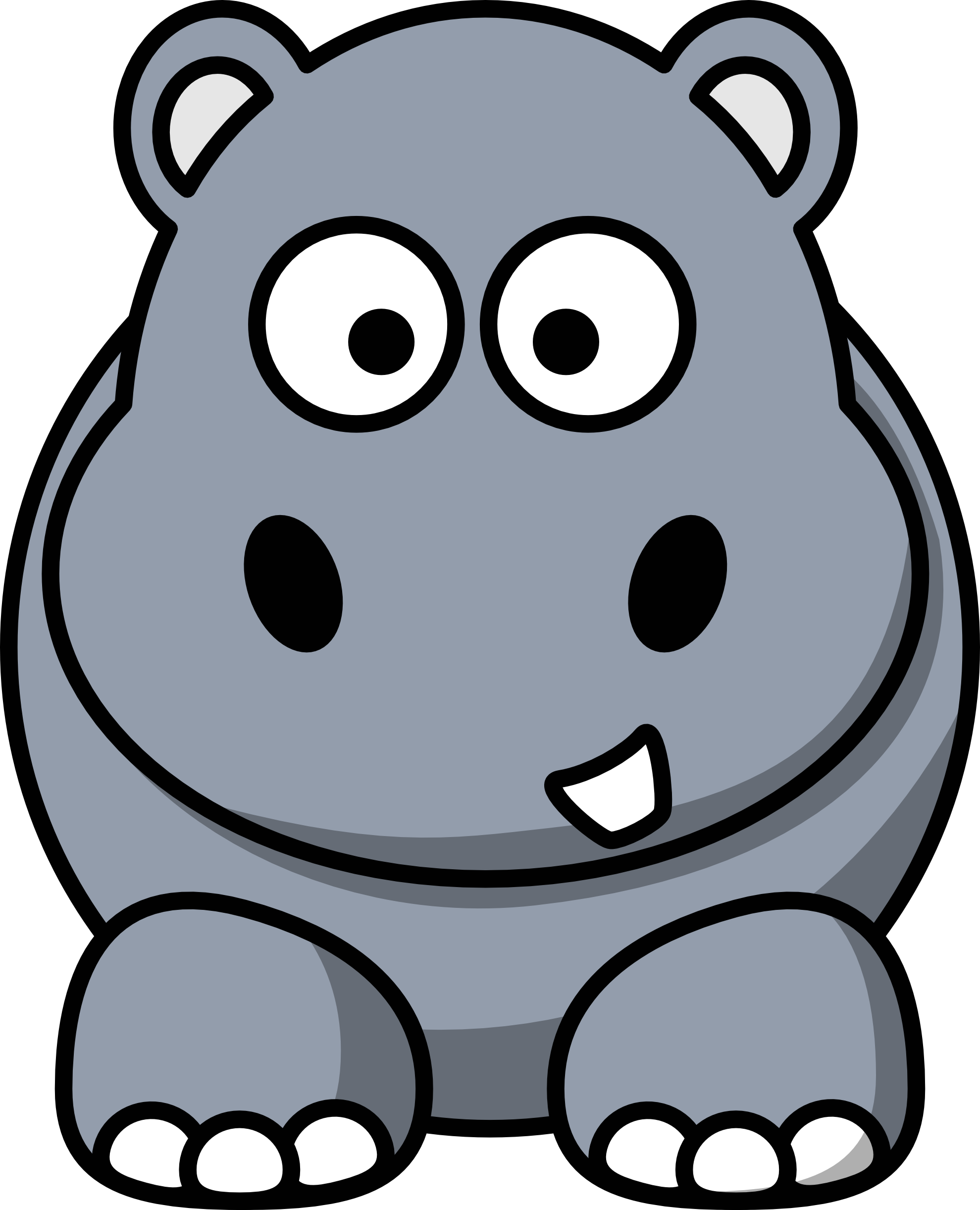 Gray pencil and in. Clipart hippo printable