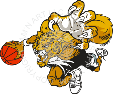 Running leopard in color. Clipart basketball jaguar