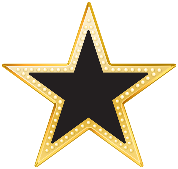Gold and black png. Hollywood clipart golden star