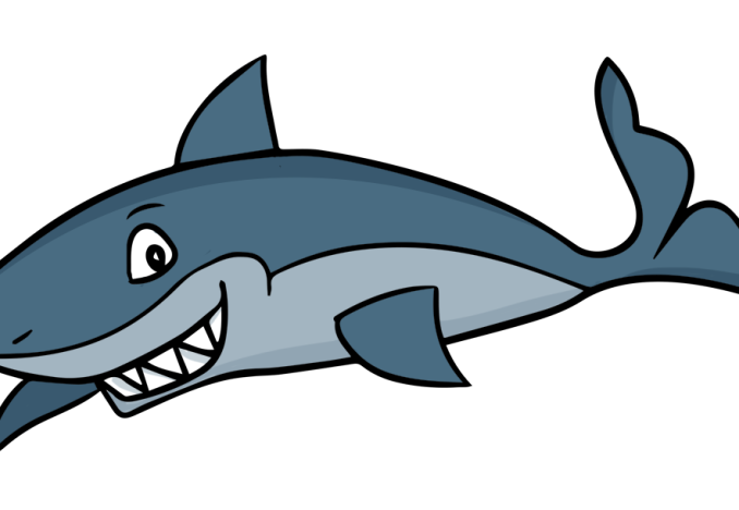 Cute real and vector. Valentine clipart shark