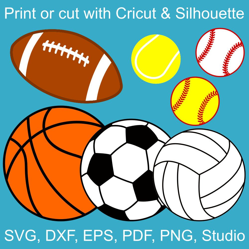 Clipart volleyball football. Sports balls svg bundle