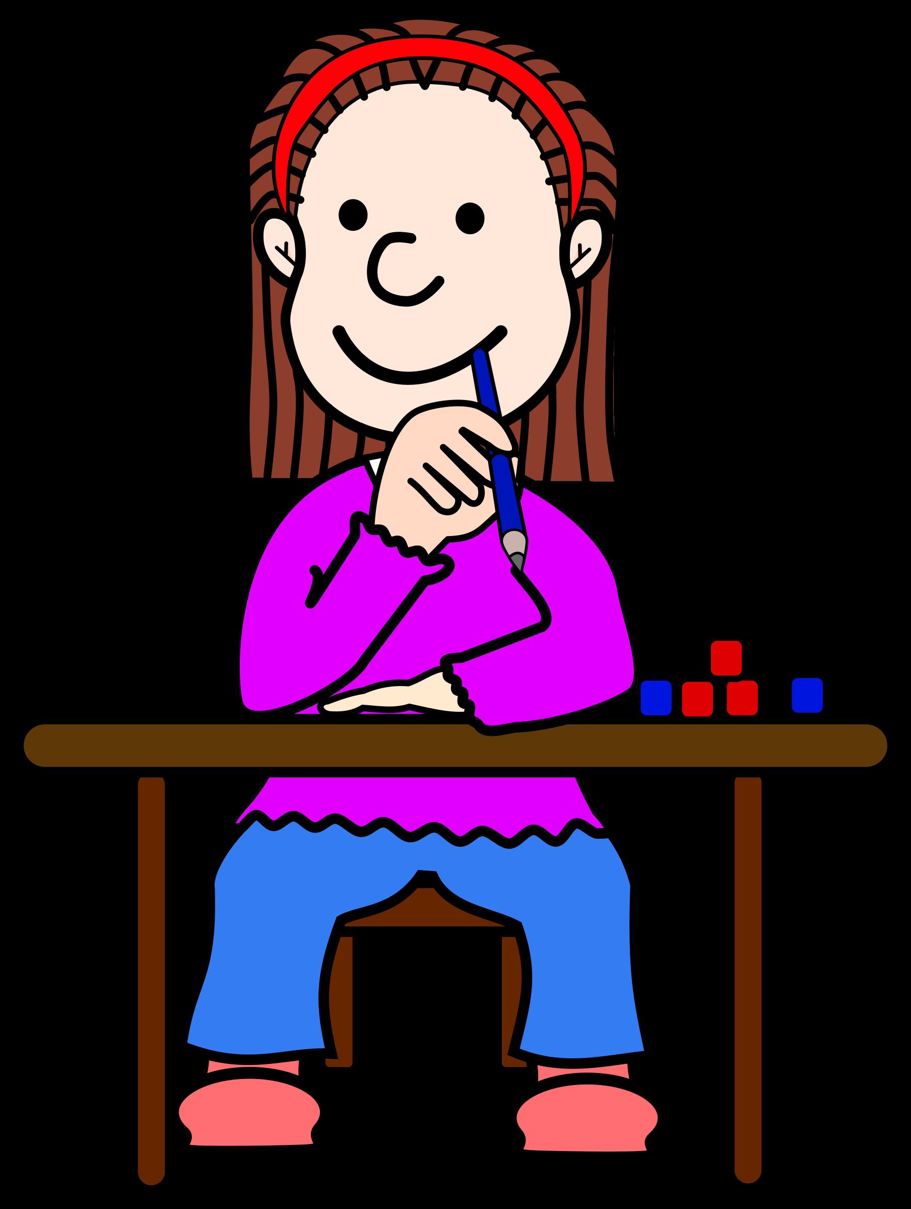 Girl cartoon at getdrawings. Desk clipart big school