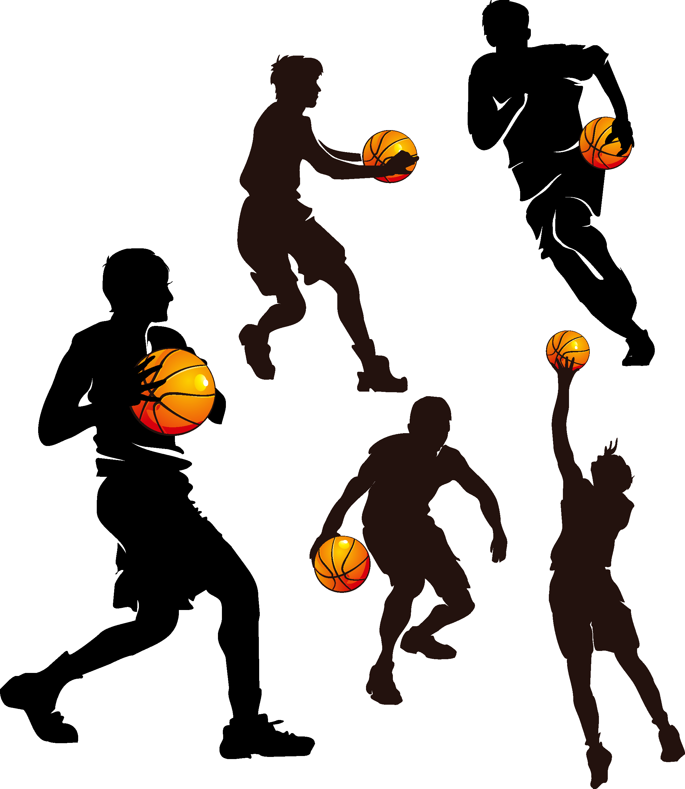 Silhouette team at getdrawings. Teamwork clipart basketball