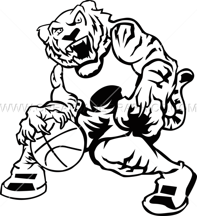 Basketball production ready artwork. Coloring clipart tiger
