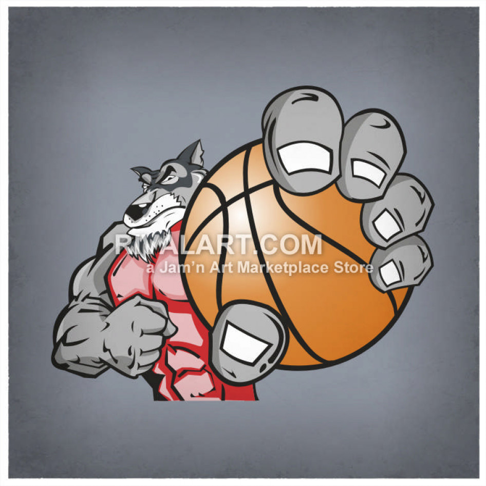Holding a graphic . Wolf clipart basketball