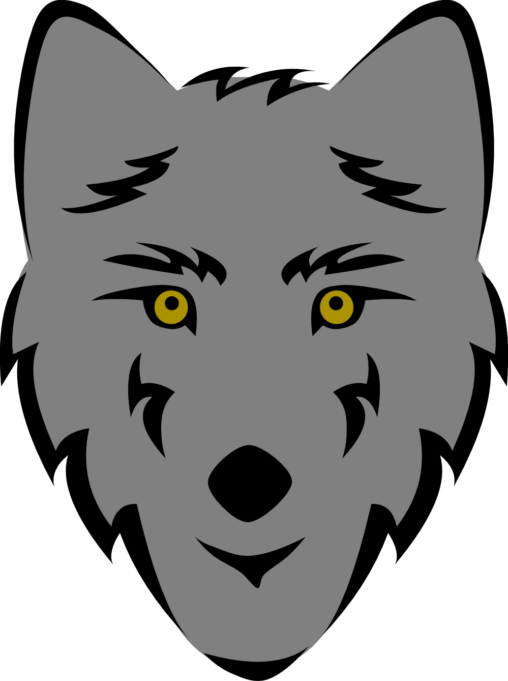 Wolf black and white. Wolves clipart clip art