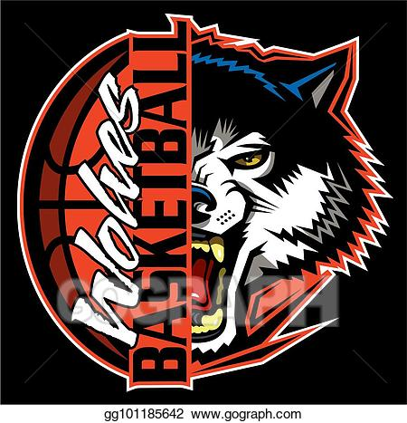 Wolf clipart basketball. Vector art wolves drawing