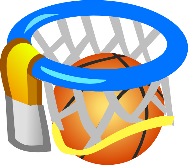 Basketball and ball clip. Net clipart small
