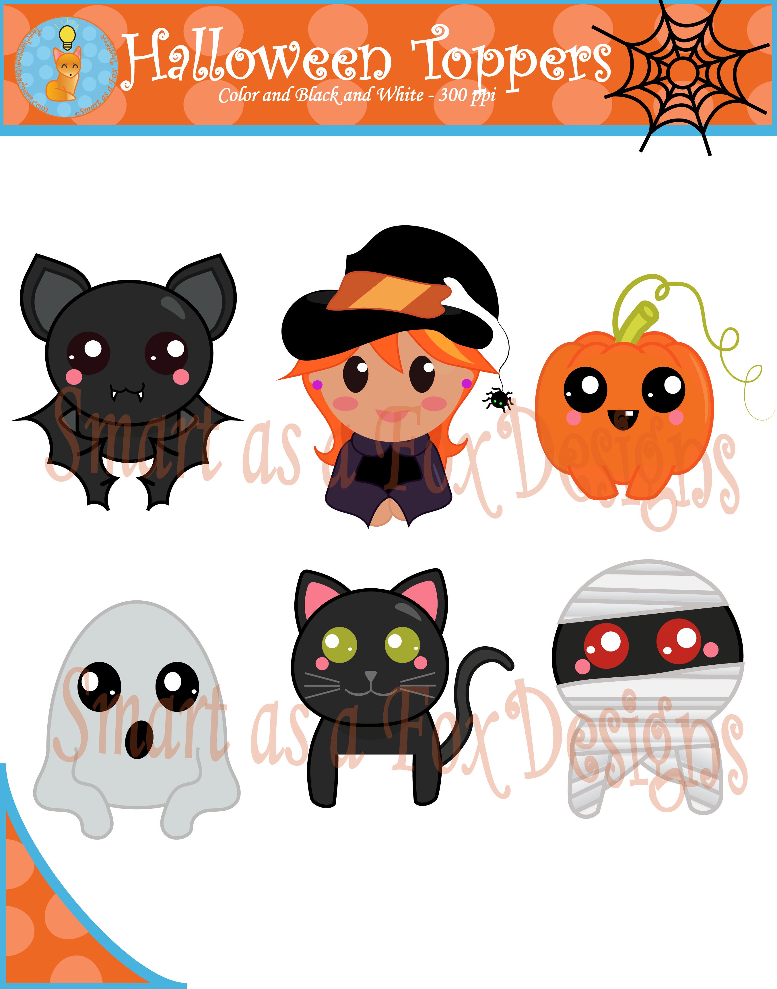 Halloween topper digital blacklines. Hunting clipart themed