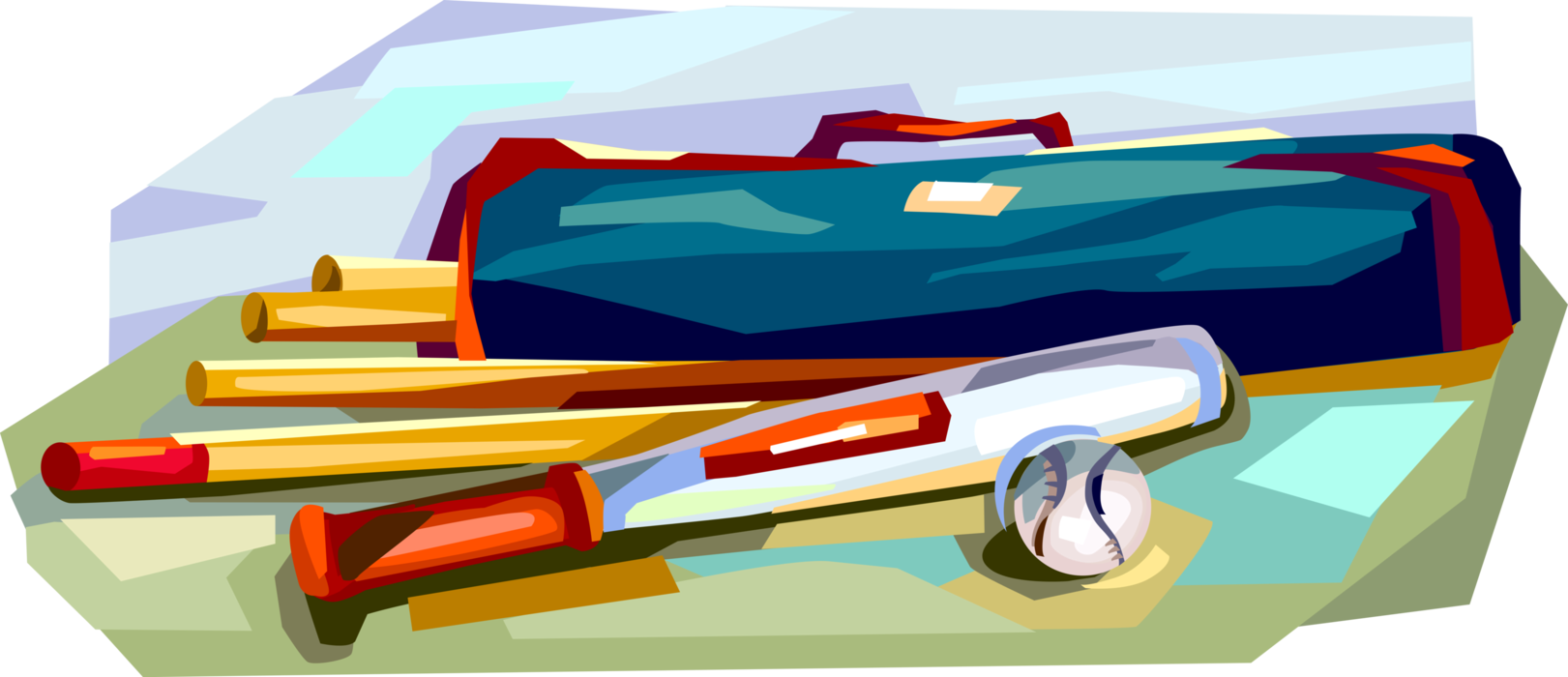 Bat and ball game. Sports clipart rounders