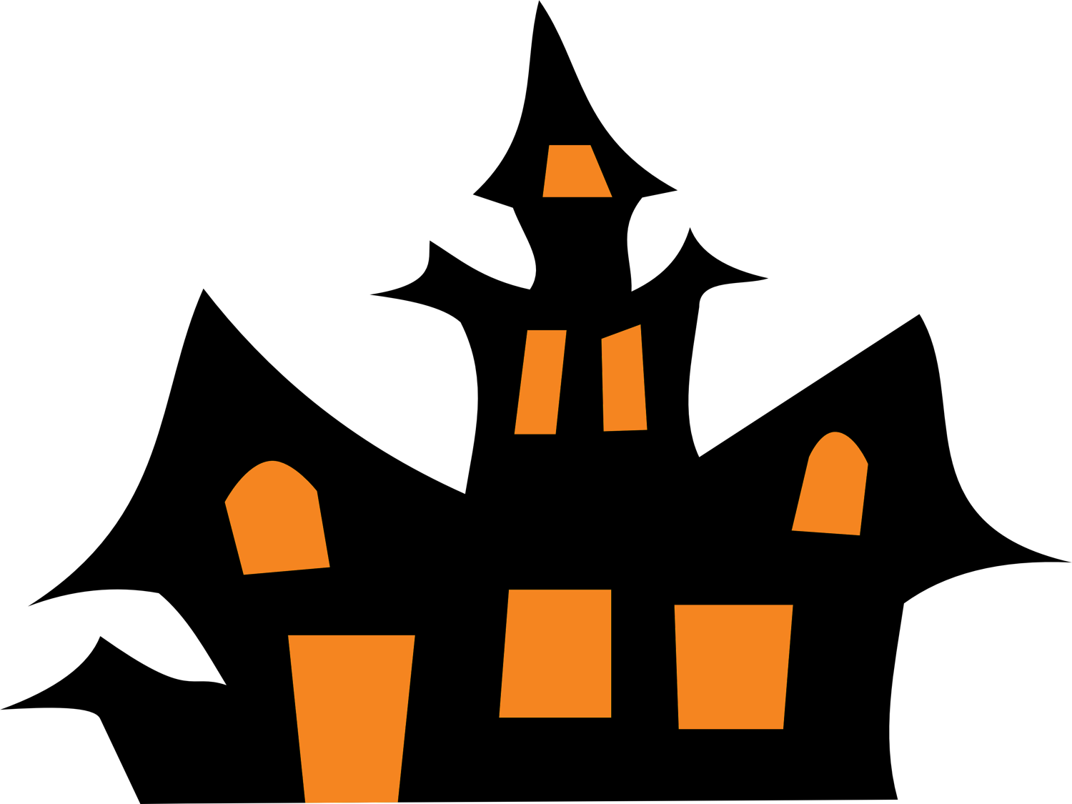 Haunted house silhouette png. Clip art black and