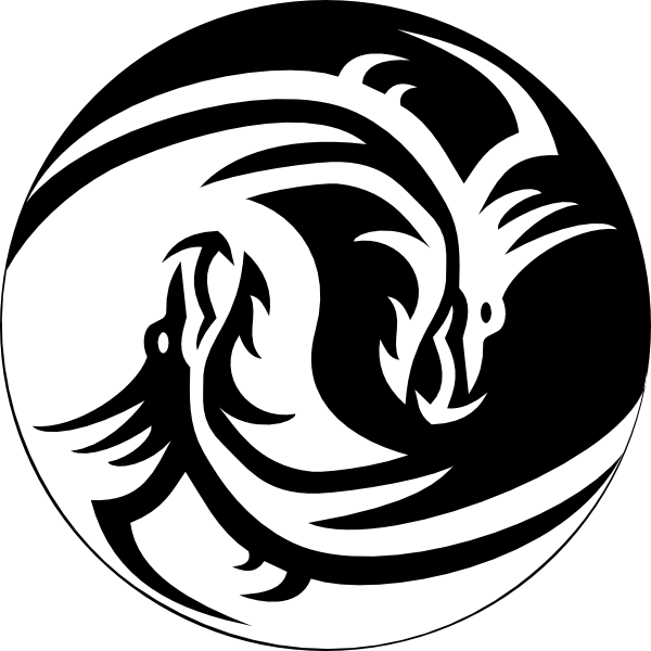 Dragon yin yang large. Clipart definition database