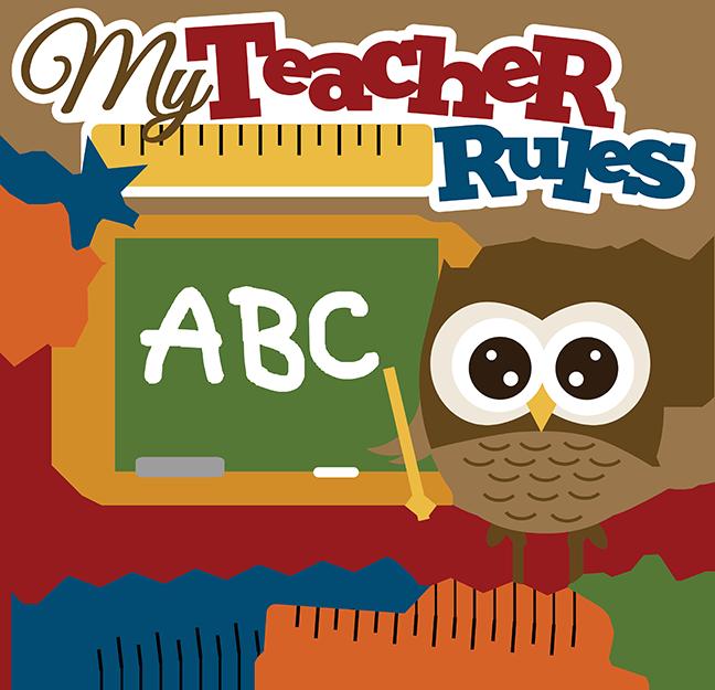 Clipart school owl. My teacher rules svg