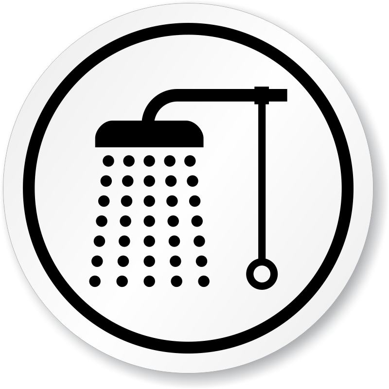 Bathroom shower symbol iso. Showering clipart water usage