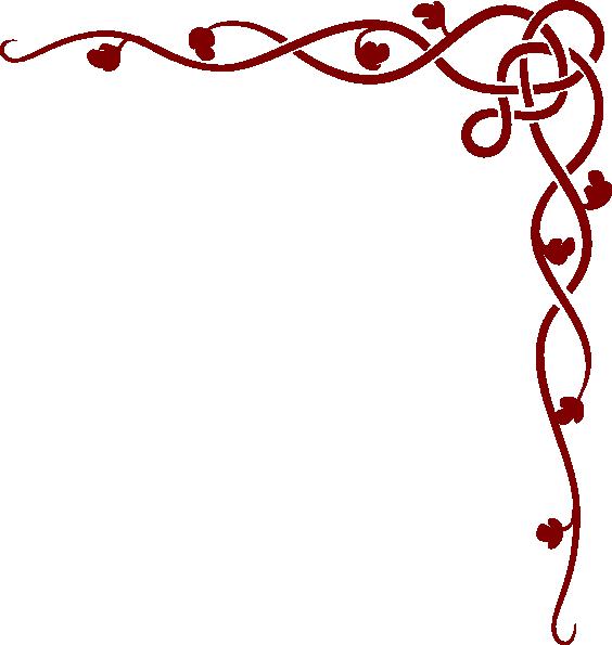 Clipart heart vine. Old rose border reversed