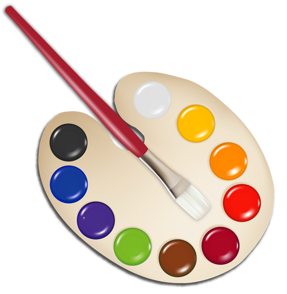 Palette with paint brush. Markers clipart house painting supply