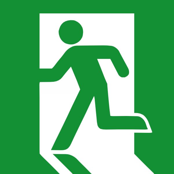 Hurricane clipart evacuation route. Emergency exit sign clip