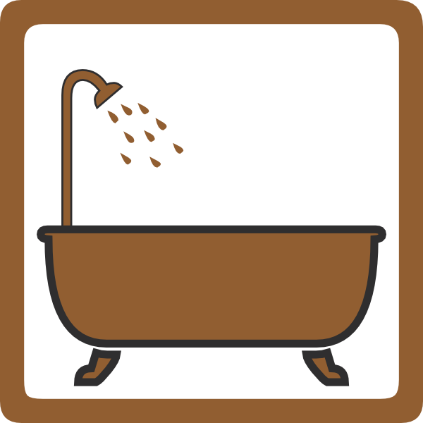 Showering clipart bathtub shower. Bath brown clip art