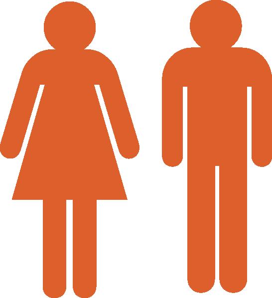 Boy and girl stick. Clipart woman bathroom