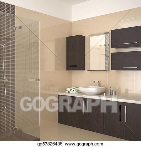 Clipart bathroom modern bathroom. Beige stock illustration
