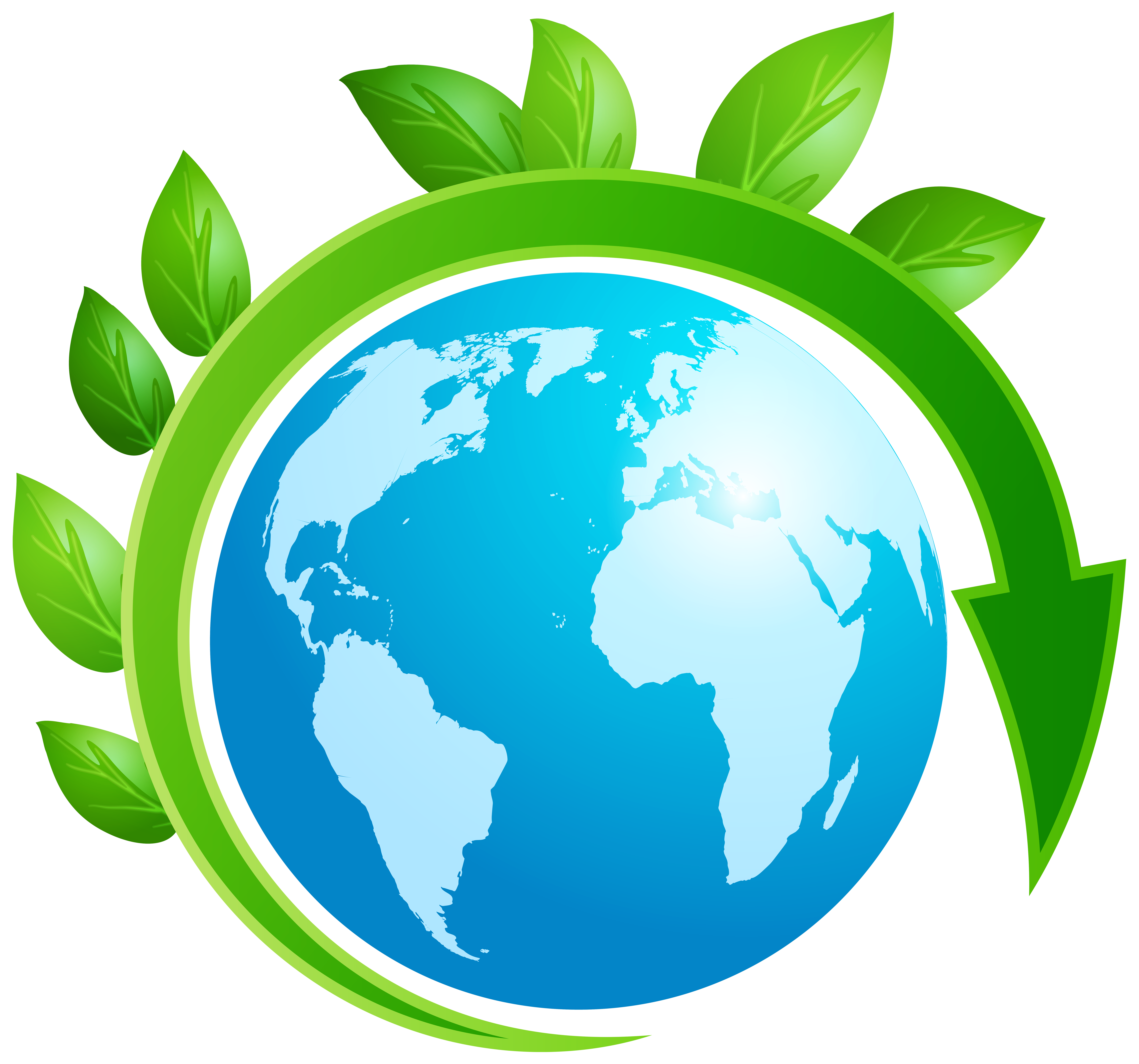 Earth planet with leaves. Planets clipart animated globe