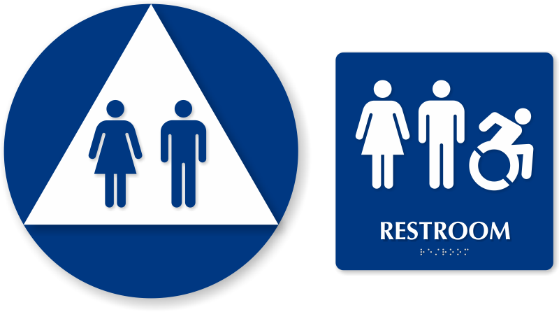 Accessible restroom signs . Clipart bathroom signage