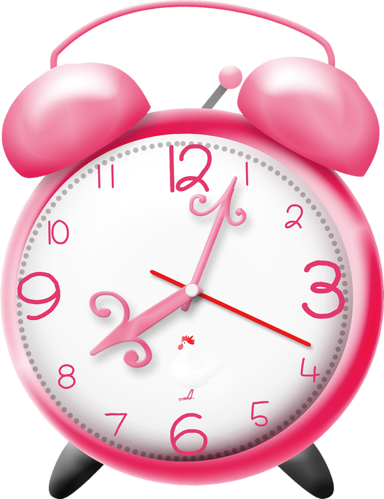 Emeto optimistic clock pink. Housekeeping clipart abject