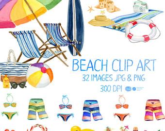 Clipart beach. Etsy watercolor summer clip