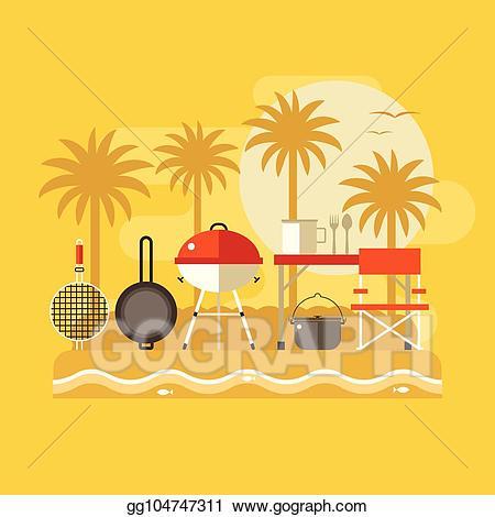 Vector summer picnic banner. Grilling clipart beach