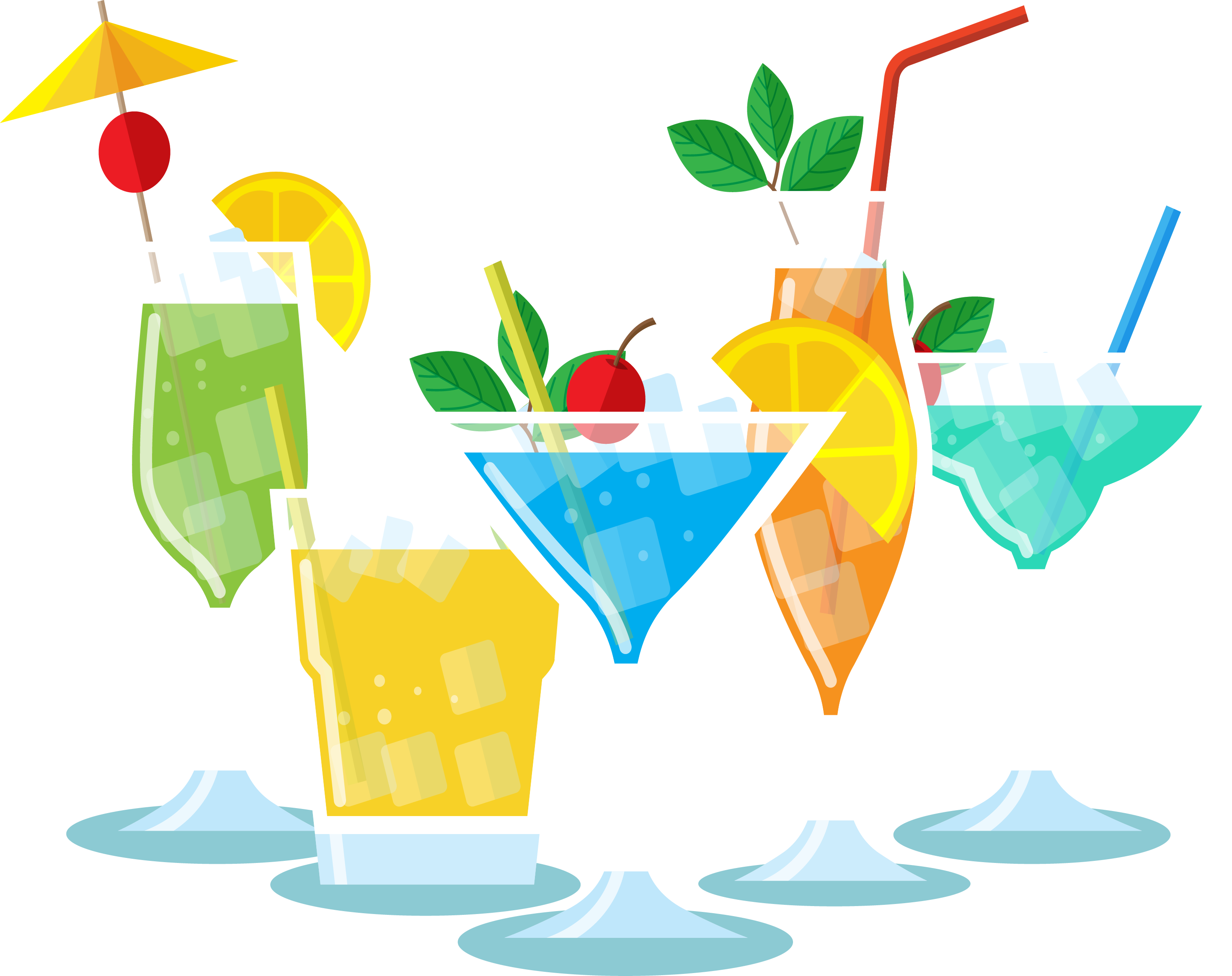 Cocktail garnish soft party. Cocktails clipart cool drink