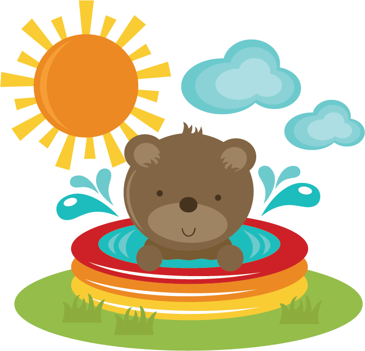 Clipart cake bear. In pool svg cut