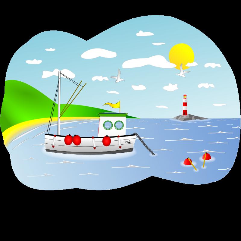 Clipart ocean ocean scene. Coastal fishing boat medium