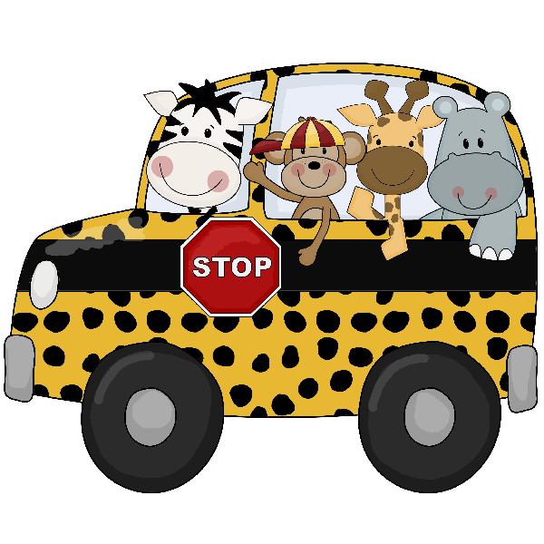 Cartoon jungle animals in. Clipart shapes bus