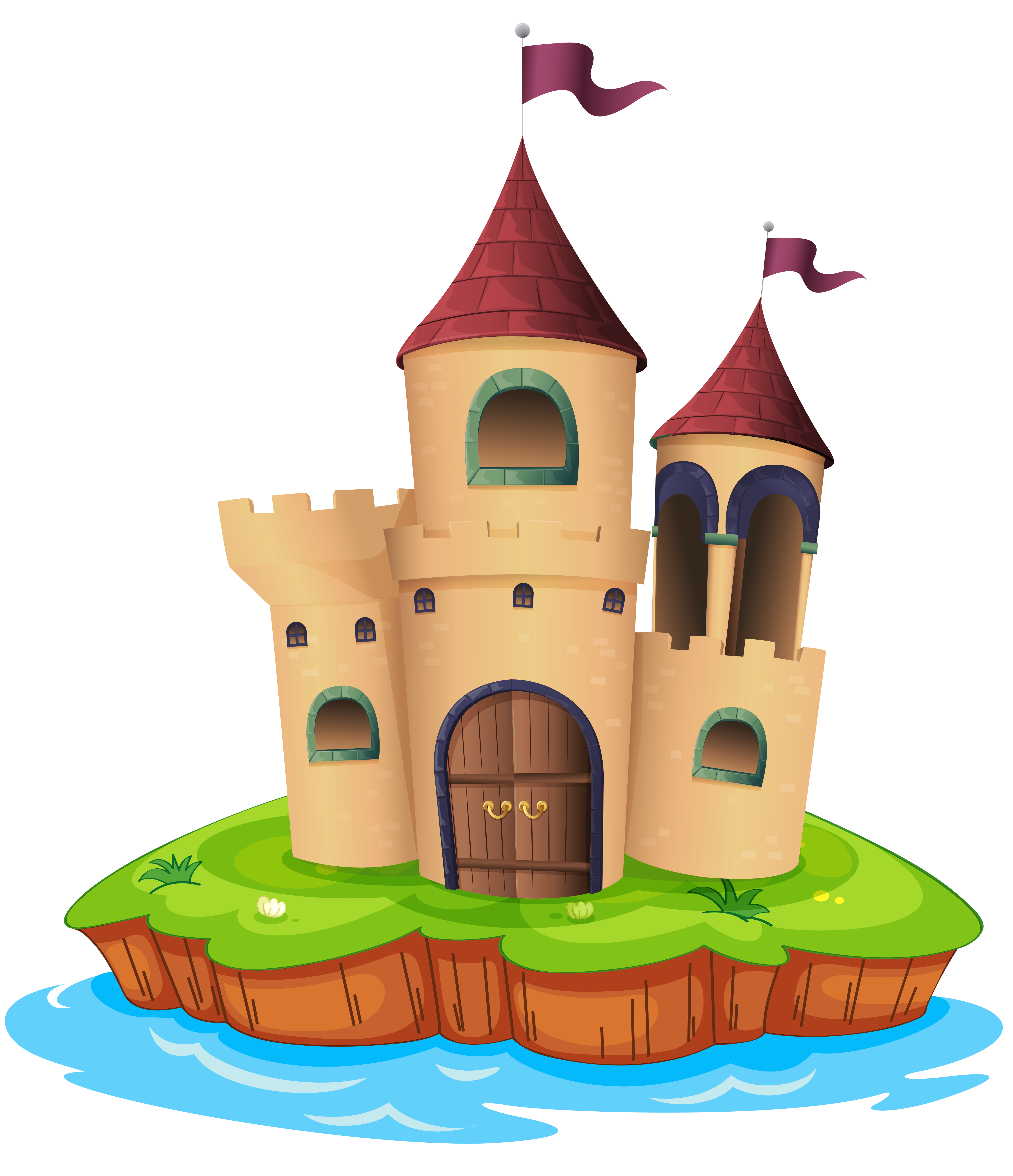 Clipart castle illustration. Transparent and water png