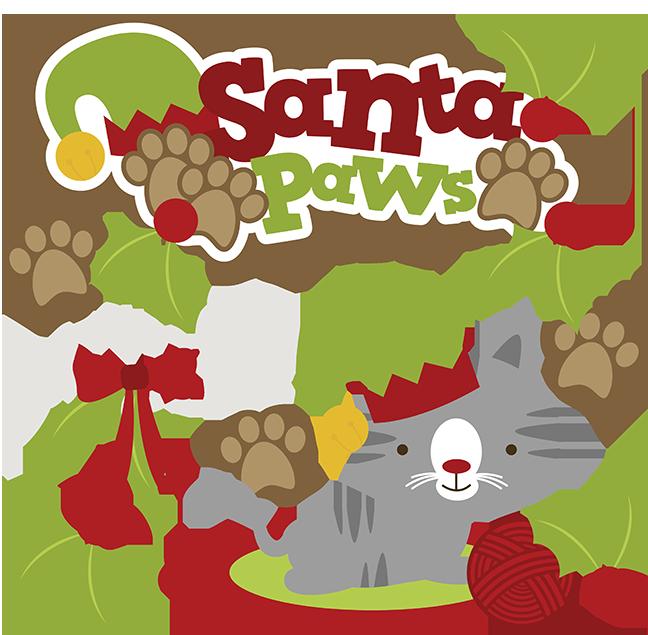 Santa paws svg cute. Scrapbook clipart cat