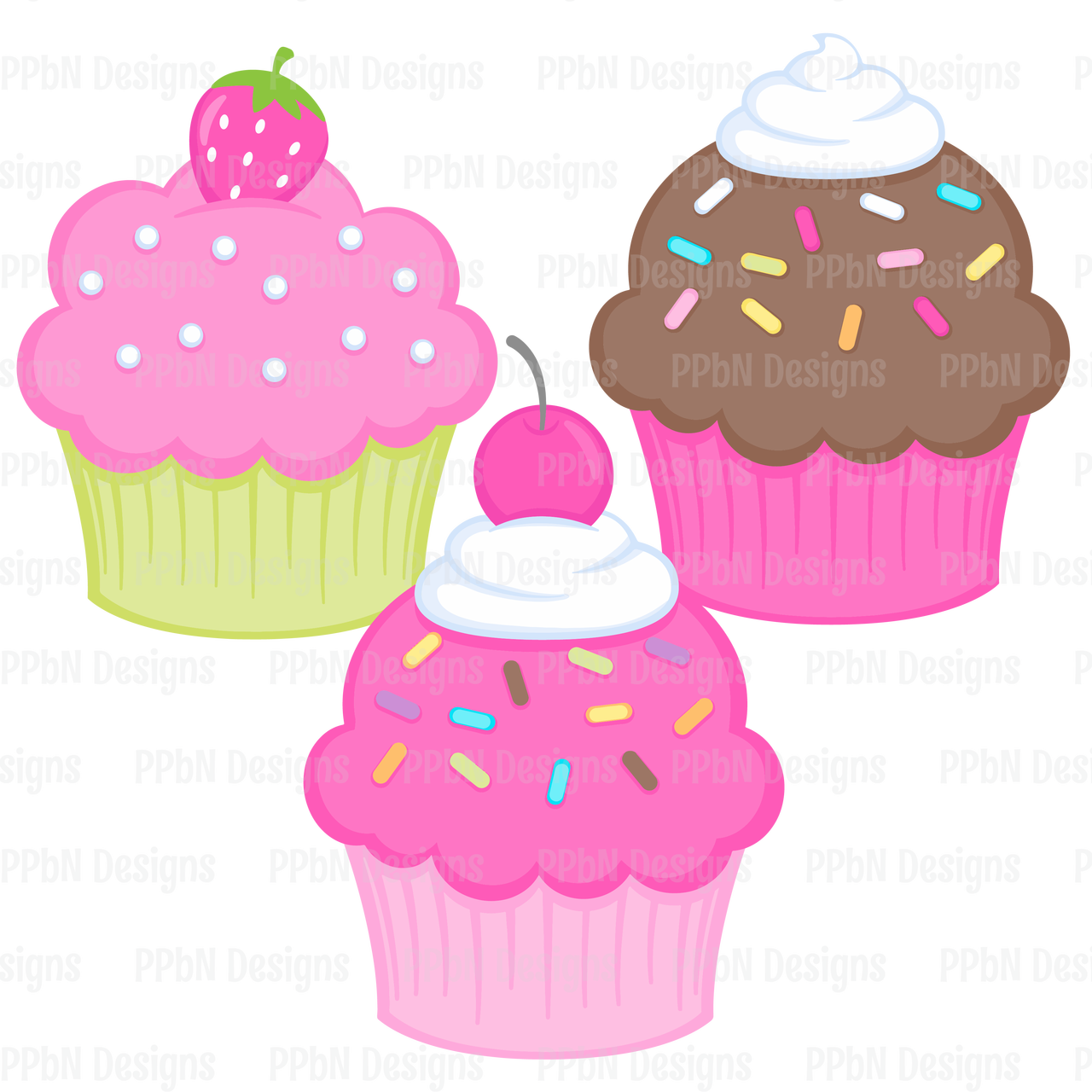 Ppbn designs pixel paper. Clipart cupcake september