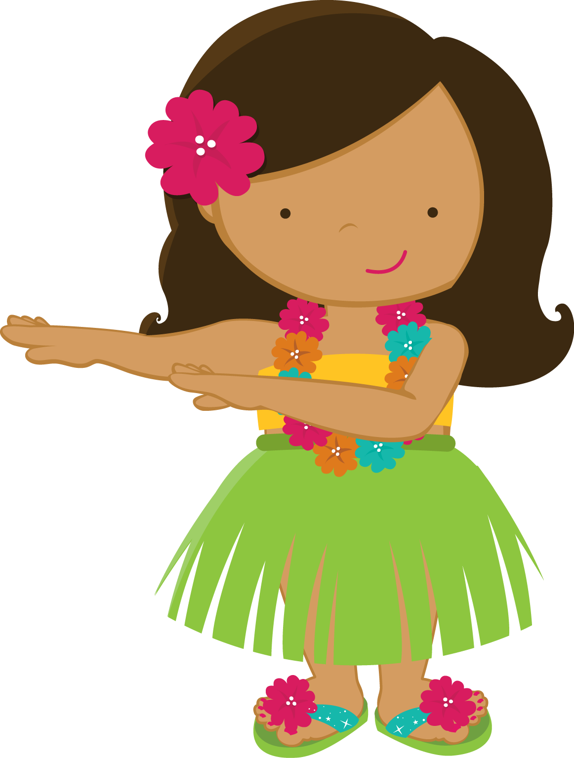 Zwd yellow hula girl. Hibiscus clipart hawaiian outfit