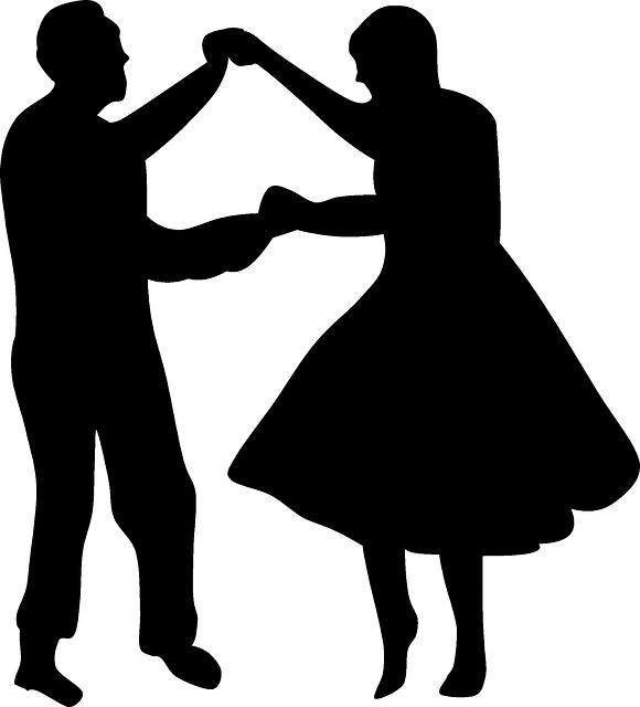 Disco dancers silhouette at. Retro clipart dance