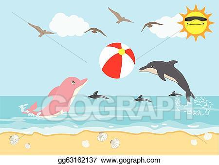 Vector illustration dolphins play. Clipart dolphin beach