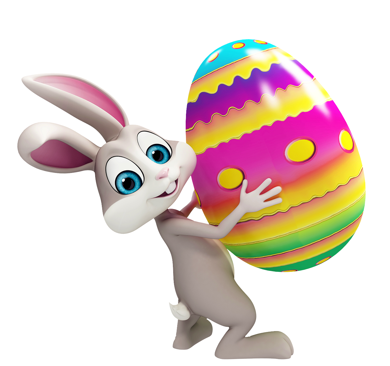 Easter Bunny with Colorful Egg Transparent PNG Clipart