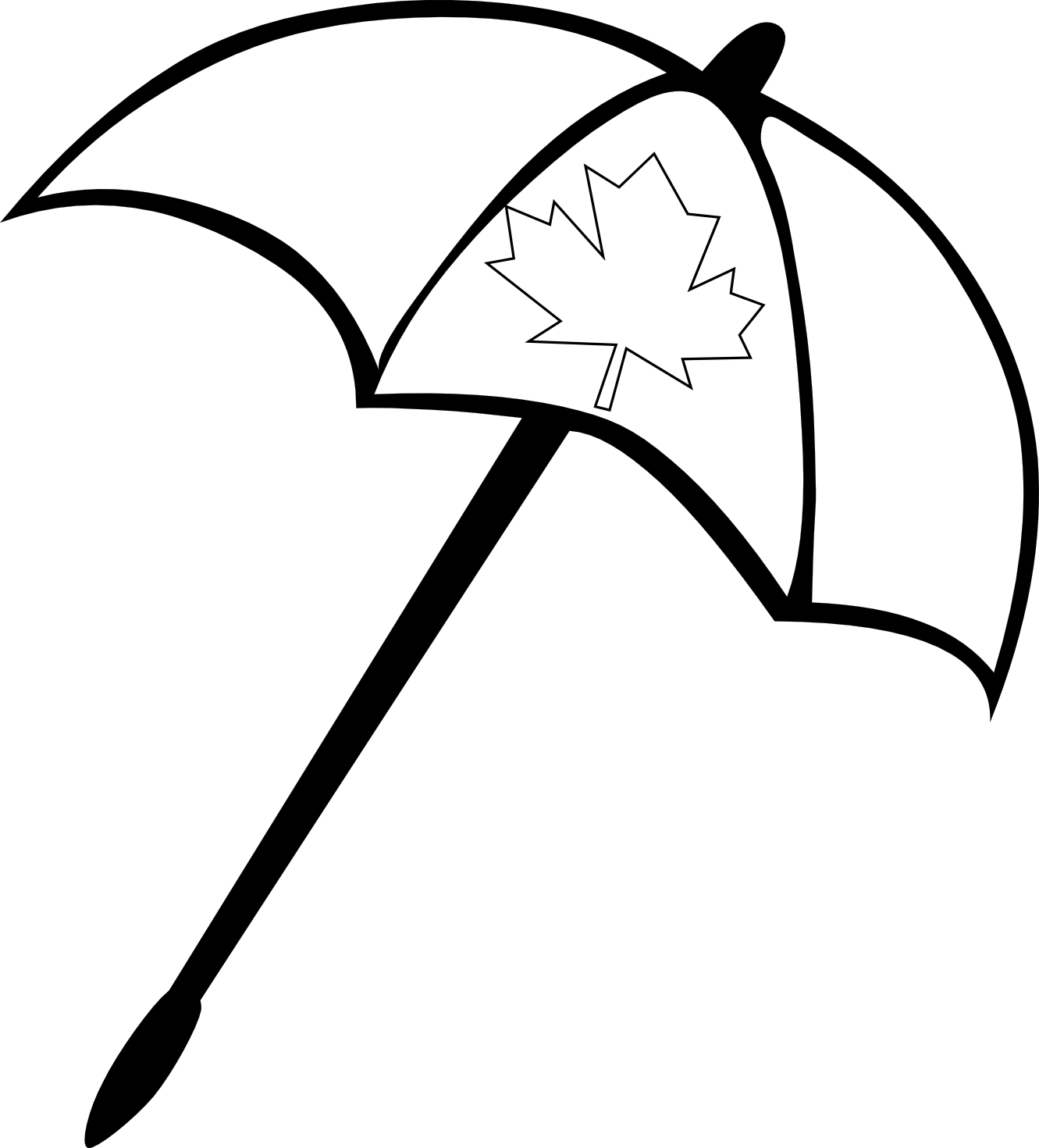 Beach umbrella . Markers clipart black and white