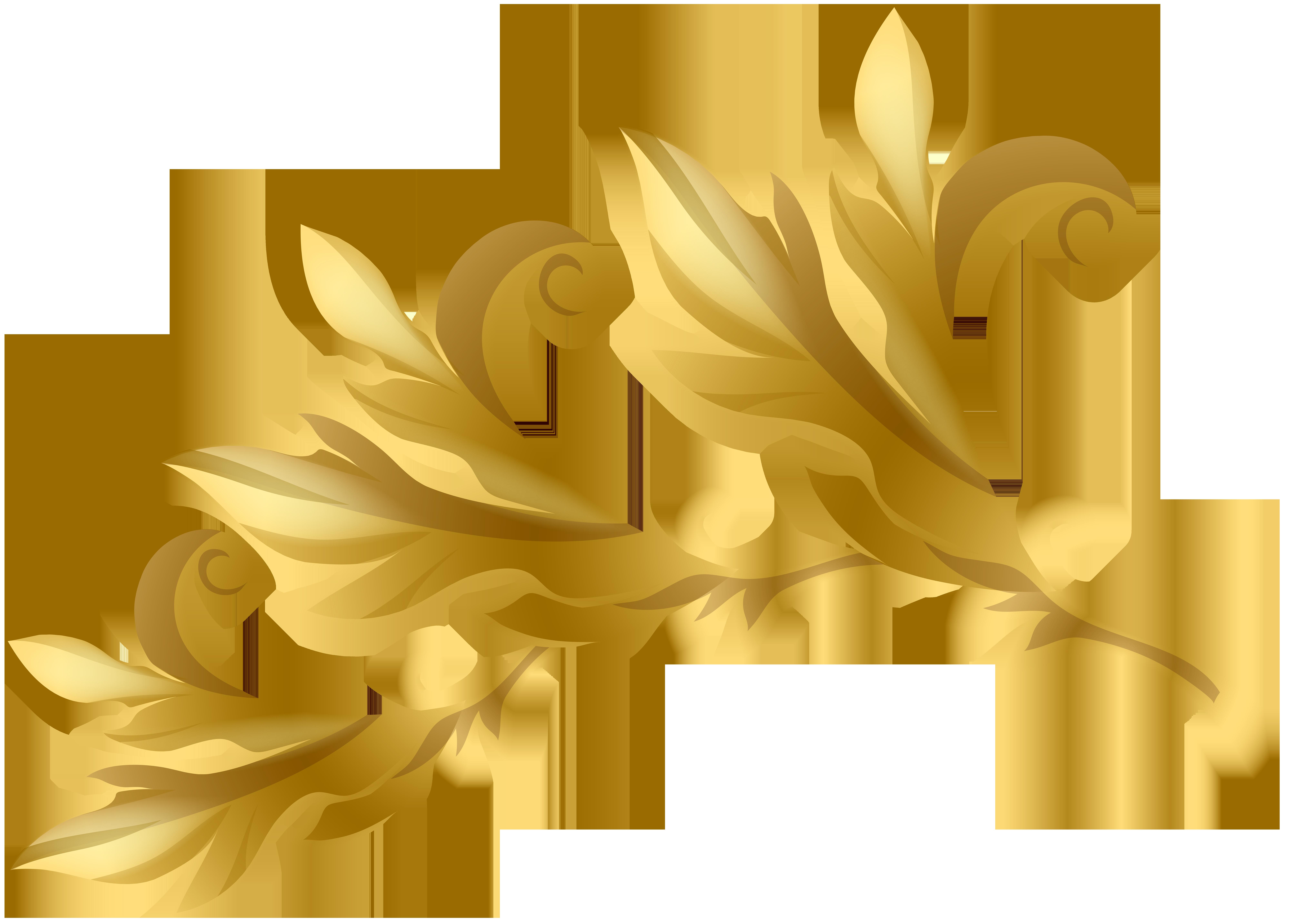 Clipart summer element. Gold decorative transparent image