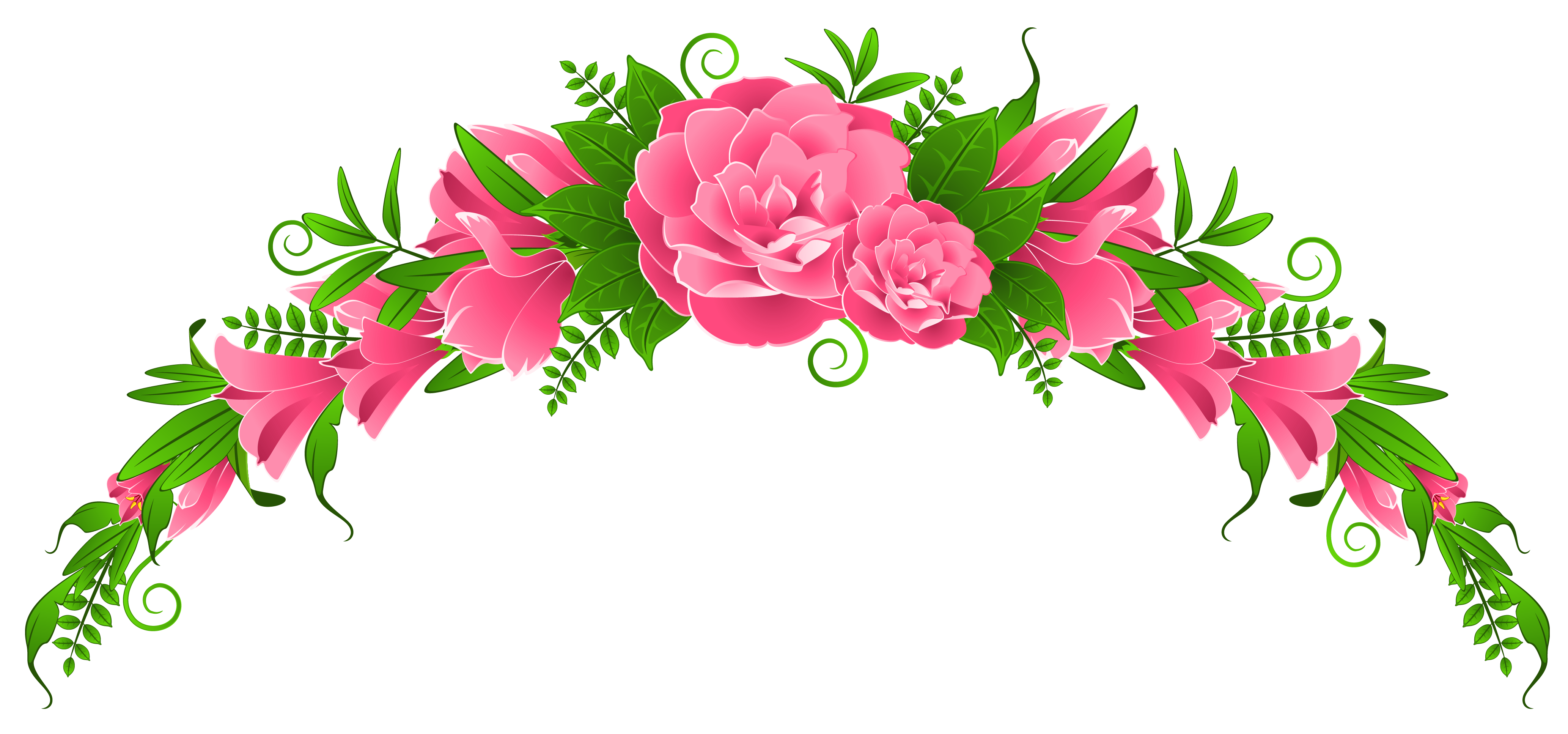 Pink flowers and roses. Clipart rose swirl